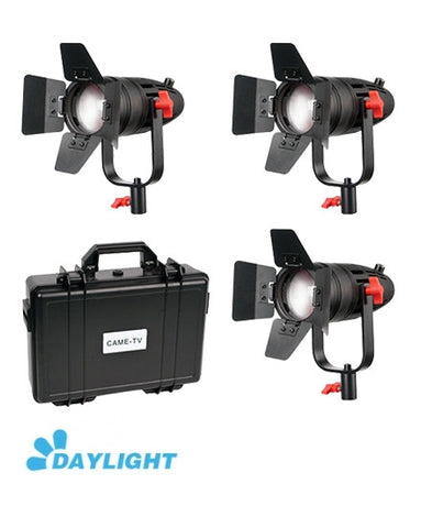 3 Pcs CAME-TV Boltzen 30w Fresnel Fanless Focusable LED Daylight Kit