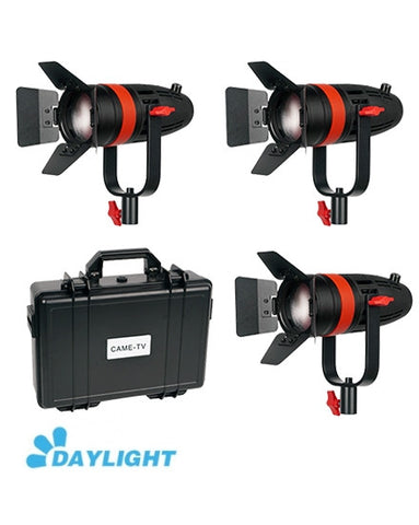 3 Pcs CAME-TV Boltzen 55w Fresnel Focusable LED Daylight Kit