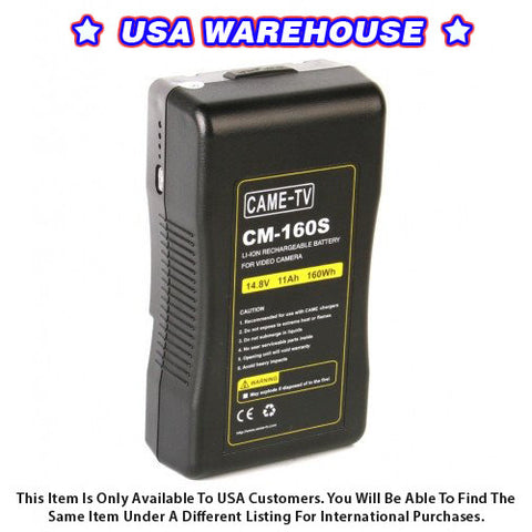 CAME-TV 160Wh Battery Sony V Mount For Camera Camcorder Battery - USA Warehouse