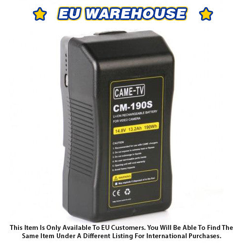 CAME-TV 190Wh Battery Sony V Mount For Camera Camcorder Battery - European Warehouse