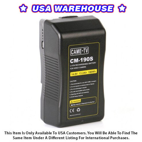 CAME-TV 190Wh Battery Sony V Mount For Camera Camcorder Battery - USA Warehouse