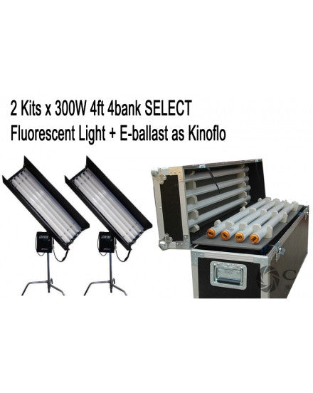 2Kits 4ft 4bank Fluorescent Light + Ballast As Kinoflo+ Flycase