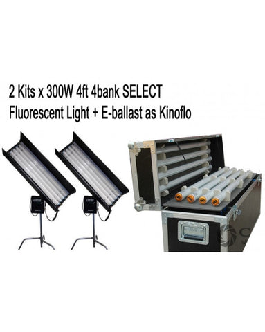 2Kits 4ft 4bank Fluorescent Light +Ballast + Flycase As Kinoflo
