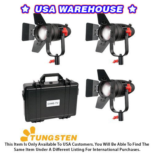 3 Pcs CAME-TV Boltzen 30w Fresnel Fanless Focusable LED Tungsten Kit - USA Warehouse