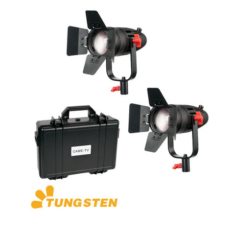 2 Pcs CAME-TV Boltzen 30w Fresnel Fanless Focusable LED Tungsten Kit