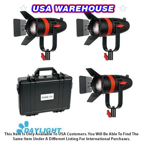 3 Pcs CAME-TV Boltzen 55w Fresnel Focusable LED Daylight Kit - USA Warehouse