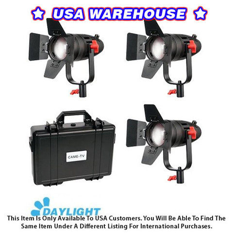 3 Pcs CAME-TV Boltzen 30w Fresnel Fanless Focusable LED Daylight Kit - USA Warehouse