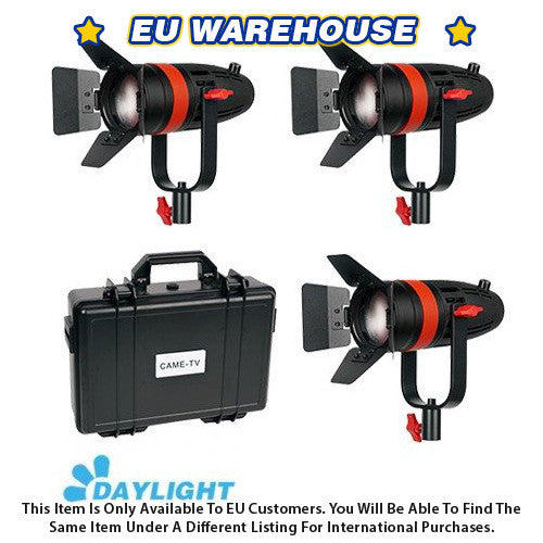 3 Pcs CAME-TV Boltzen 55w Fresnel Focusable LED Daylight Kit - European Warehouse
