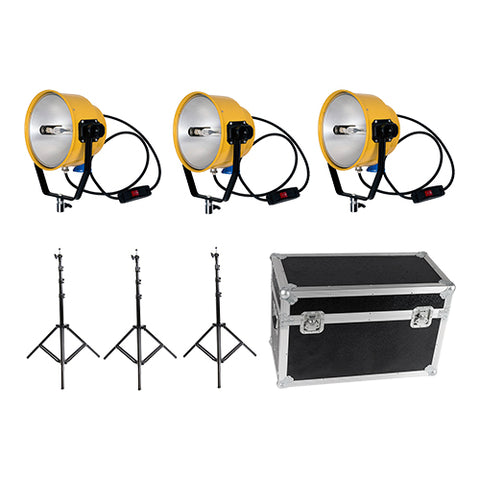 3×2000W 220V Yellow Head Continuous Video Studio Photo Lighting