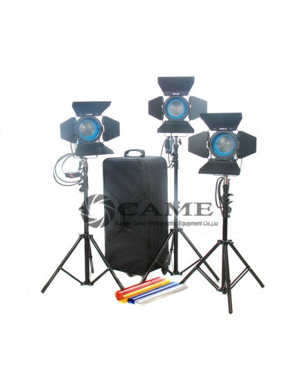 3×650 Tungsten Fresnel Light Spot Video Studio Continuous Light
