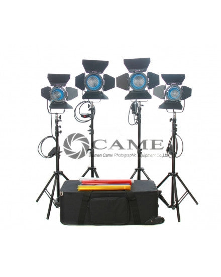 4pcs Lights (1×650W+3×300W) Fresnel Tungsten Video Spot Light