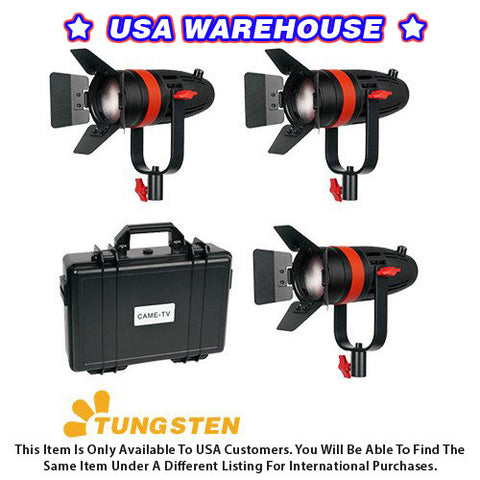 3 Pcs CAME-TV Boltzen 55w Fresnel Focusable LED Tungsten Kit - USA Warehouse