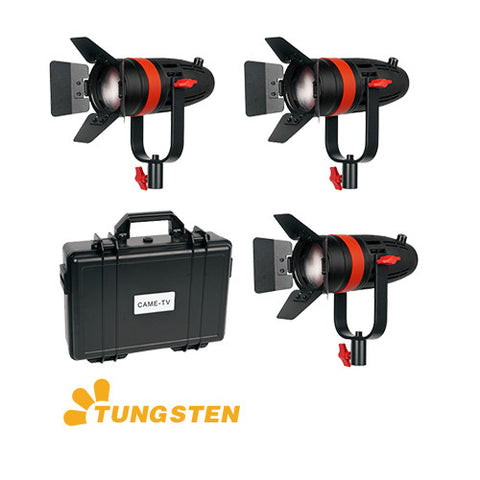 3 Pcs CAME-TV Boltzen 55w Fresnel Focusable LED Tungsten Kit