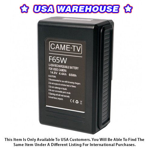 CAME-TV Compact V-Mount Li-Ion Battery 65Wh - USA Warehouse