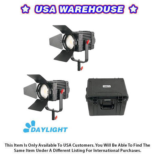 2 Pcs CAME-TV Boltzen 100w Fresnel Fanless Focusable LED Daylight Kit - USA Warehouse