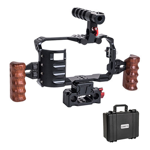 CAME-TV BMPCC 4K Plus Cage With Wooden Grips And Rod Base For BlackMagic Pocket Cinema Camera