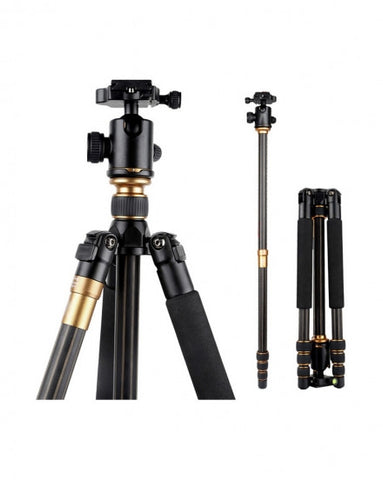 CAME-TV Q99C Carbon Fiber Tripod Monopod Mini Stand