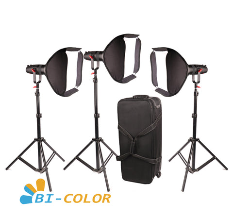 3 Pcs CAME-TV Boltzen 30w Fresnel Fanless Focusable LED Bi-color Package