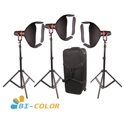 3 Pcs CAME-TV Q-55S Boltzen 55w High Output Fresnel Focusable LED Bi-Color Package