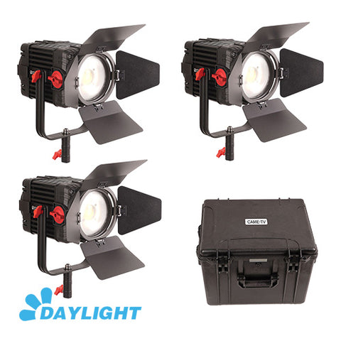 3 Pcs CAME-TV Boltzen 150w Fresnel Focusable LED Daylight Kit