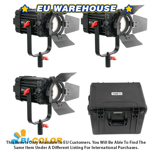 3 Pcs CAME-TV Boltzen 100w Fresnel Focusable LED Bi-Color Kit - European Warehouse