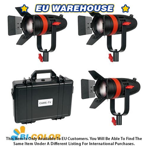 3 Pcs CAME-TV Boltzen 55w Fresnel Focusable LED Bi-Color Kit - European Warehouse