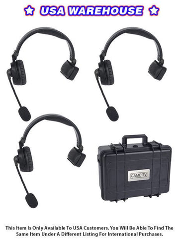 CAME-TV WAERO Duplex Digital Wireless Foldable Headset with Hardcase 3 Pack - USA Warehouse
