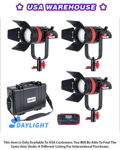 3 Pcs CAME-TV Q-55W Boltzen 55w High Output Fresnel Focusable LED Daylight Kit - USA Warehouse