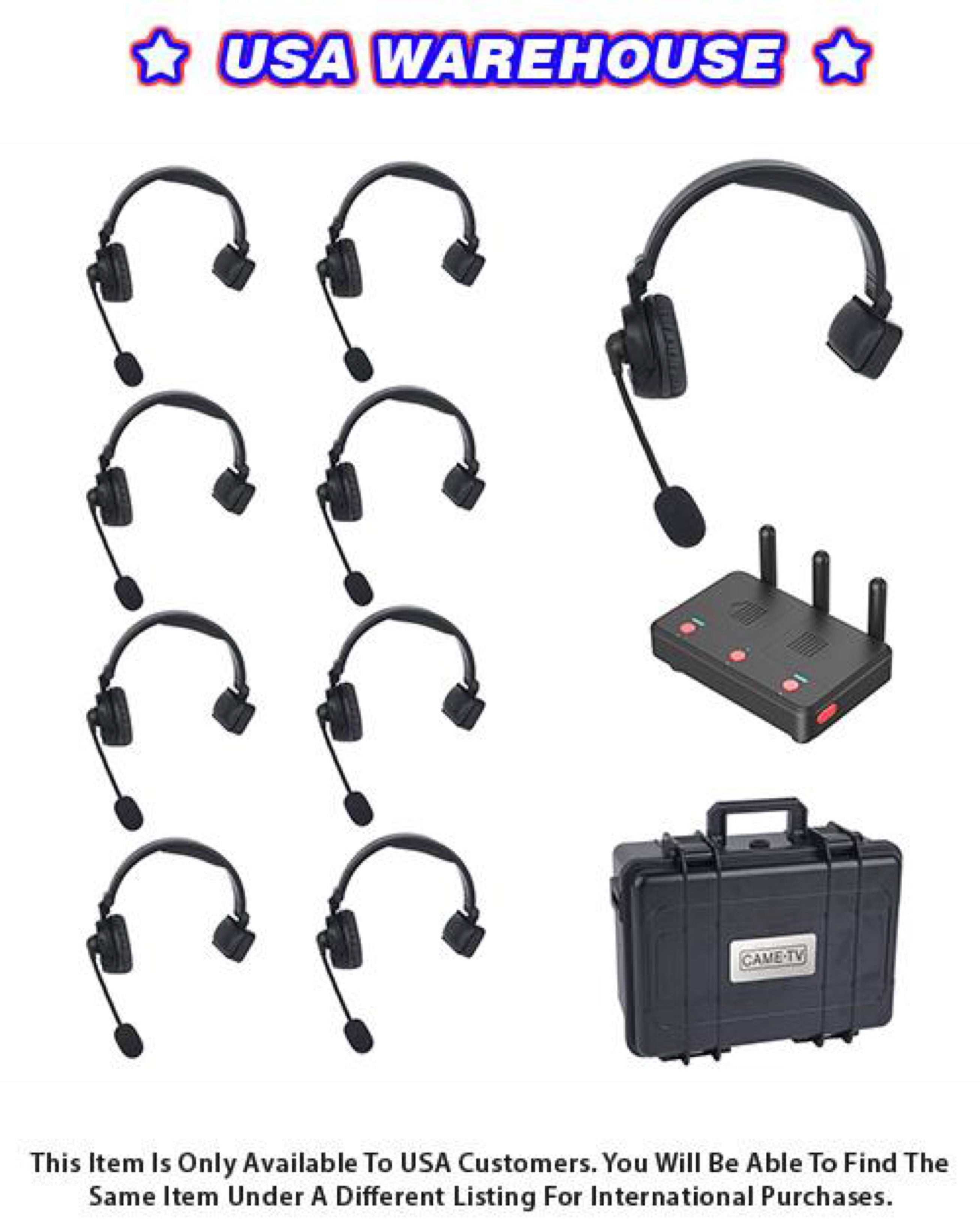 CAME-TV WAERO Duplex Digital Wireless Headset Communication Devices with Hub 9 Pack - USA Warehouse