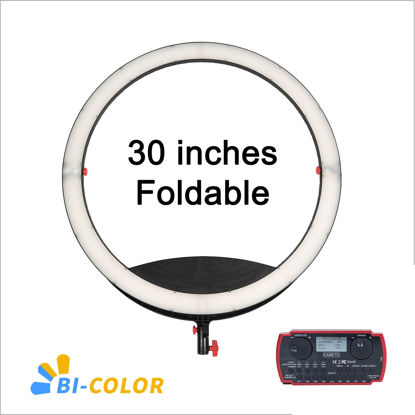 30 Inches Boltzen Cassiopeia Slim Folding Bi-Color 80 Watt Ring Light LED