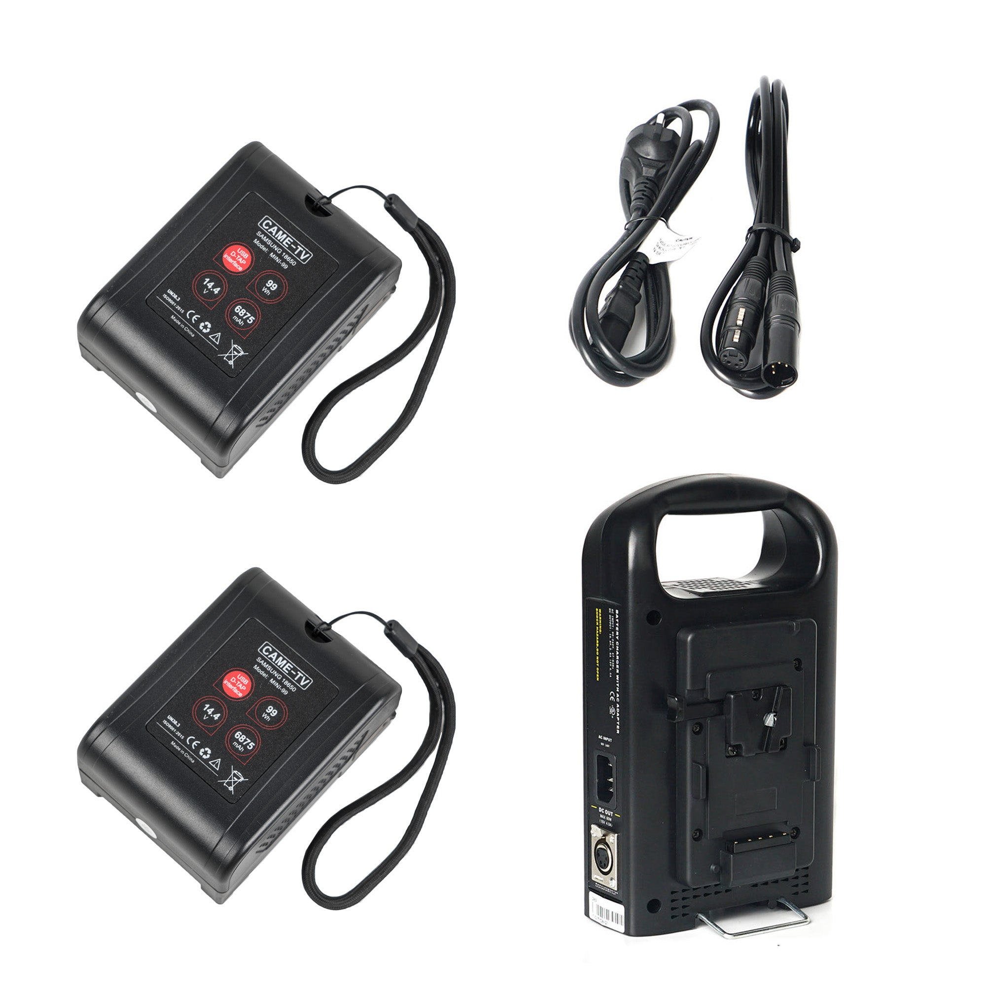 CAME-TV 2 Pieces Mini 99 Lightweight Battery with Charger Convert to 24V Output