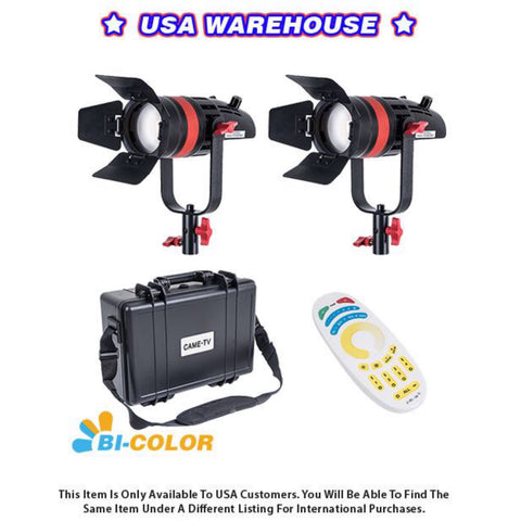 2 Pcs CAME-TV Q-55S Boltzen 55w High Output Fresnel Focusable LED Bi-Color Kit - USA Warehouse