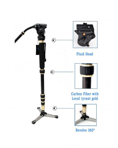 Portable Carbon Fiber Lightweight Monopod Fluid Head Handle