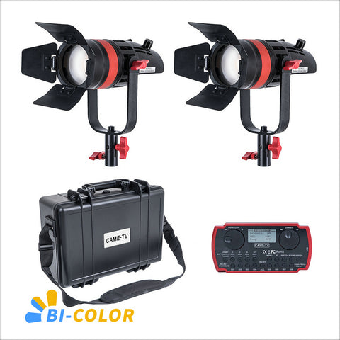 2 Pcs CAME-TV Q-55S Boltzen 55w High Output Fresnel Focusable LED Bi-Color Kit