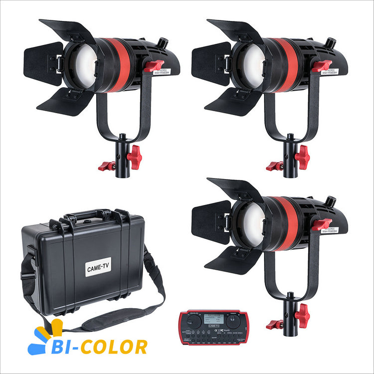 3 Pcs CAME-TV Q-55S Boltzen 55w High Output Fresnel Focusable LED Bi-Color Kit