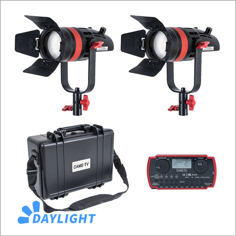 2 Pcs CAME-TV Q-55W Boltzen 55w High Output Fresnel Focusable LED Daylight Kit