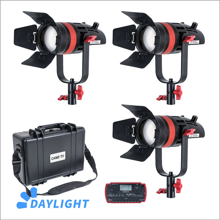 3 Pcs CAME-TV Q-55W Boltzen 55w High Output Fresnel Focusable LED Daylight Kit