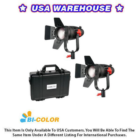 2 Pcs CAME-TV Boltzen 30w Fresnel Fanless Focusable LED Bi-Color Kit - USA Warehouse