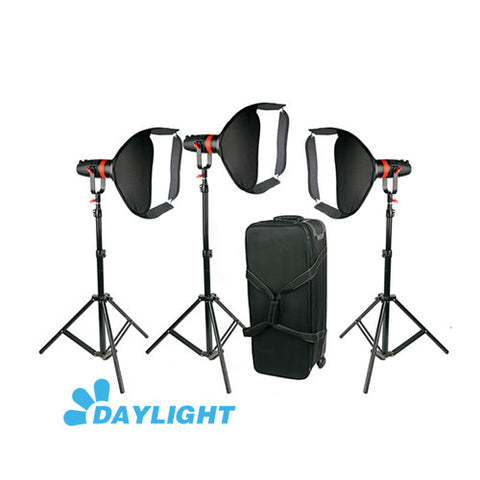 3 Pcs CAME-TV Q-55W Boltzen 55w High Output Fresnel Focusable LED Daylight Package