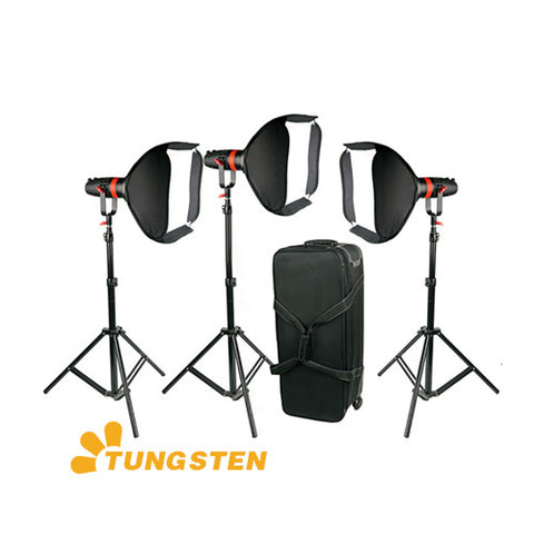 3 Pcs CAME-TV Boltzen 55w Fresnel Focusable LED Tungsten Package