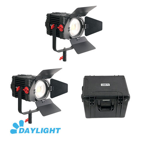 2 Pcs CAME-TV Boltzen 150w Fresnel Focusable LED Daylight Kit