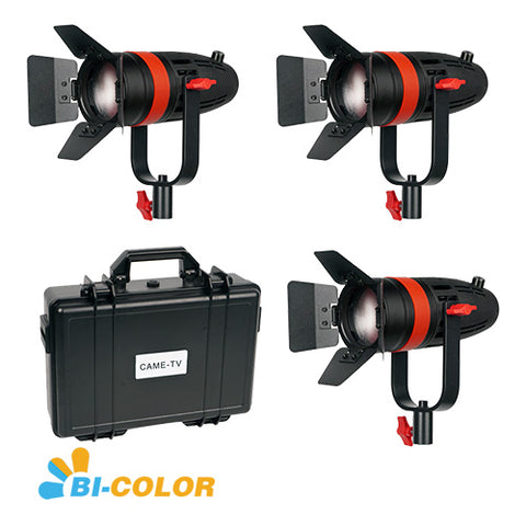 3 Pcs CAME-TV Boltzen 55w Fresnel Focusable LED Bi-Color Kit