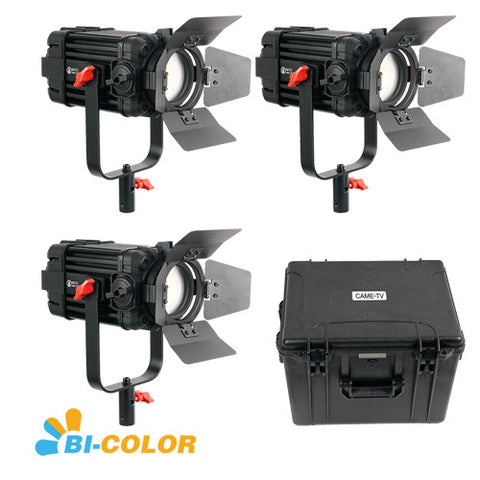 3 Pcs CAME-TV Boltzen 100w Fresnel Focusable LED Bi-Color F-100S-3KIT