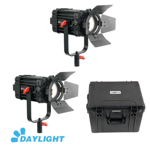 2 Pcs CAME-TV Boltzen 60w Fresnel Fanless Focusable LED Daylight Kit