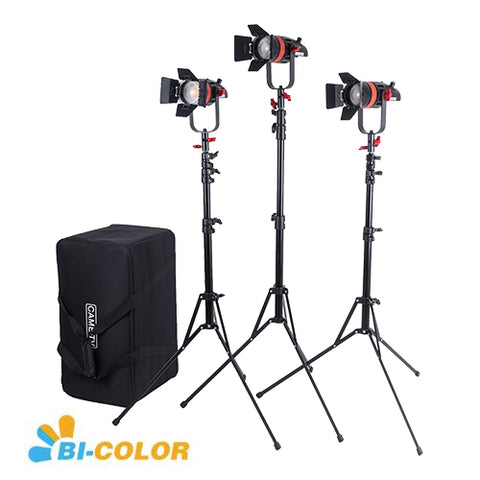 3 Pcs CAME-TV Q-55S Boltzen 55w High Output Fresnel Focusable LED Bi-Color Kit With Light Stands