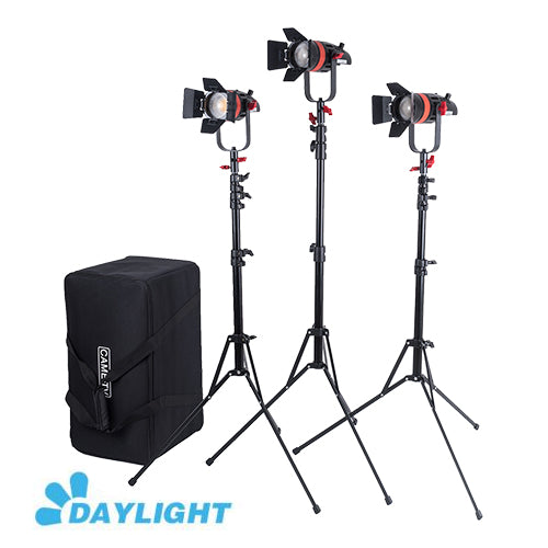 3 Pcs CAME-TV Q-55W Boltzen 55w High Output Fresnel Focusable LED Daylight Kit With Light Stands