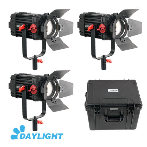 3 Pcs CAME-TV Boltzen 100w Fresnel Focusable LED Daylight Kit