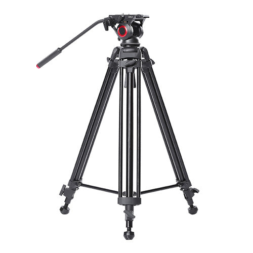 CAME-TV Aluminum Video Tripod With Fluid Bowl Head And Spreader Max Load 22 Lbs 606A