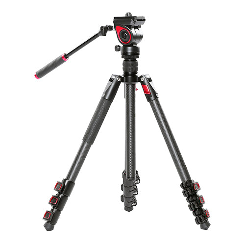 CAME-TV Carbon Fiber Video Tripod With Fluid Head Max Load 11 Lbs 801C
