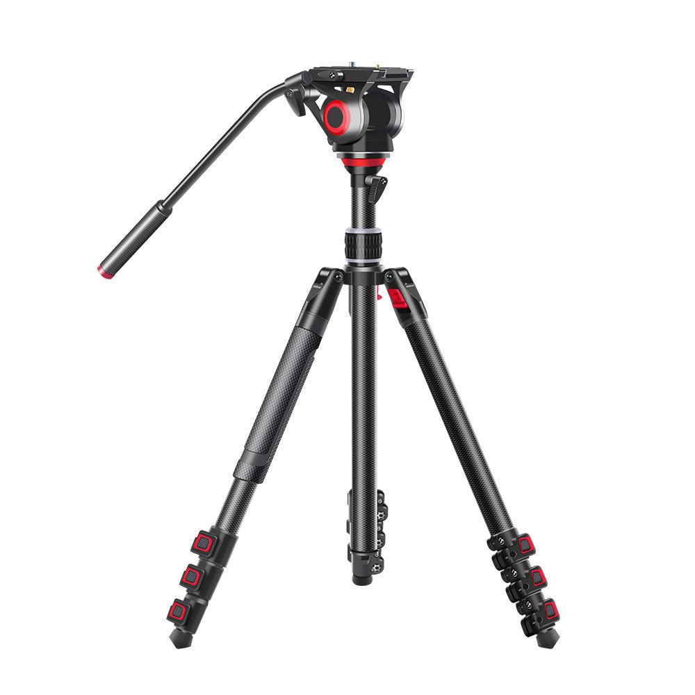 CAME-TV Carbon Fiber Video Tripod With Fluid Head Max Load 22 Lbs TP-501C